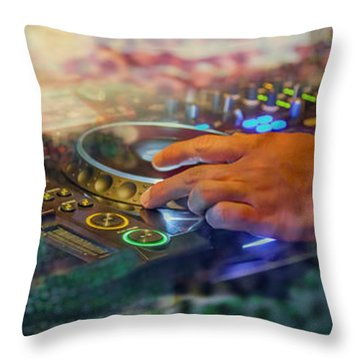 Throw Pillow featuring the digital art Rotterdam And Dj Music by Ariadna De Raadt