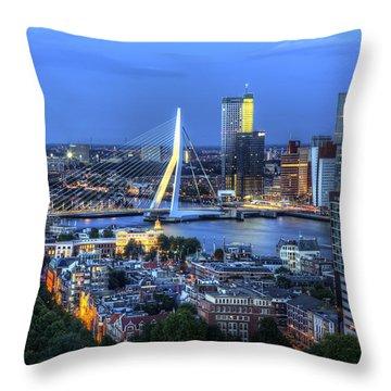 Rotterdam Skyline With Erasmus Bridge Throw Pillow by Shawn Everhart