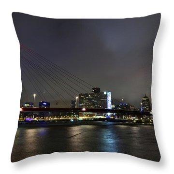 Rotterdam - Willemsbrug At Night Throw Pillow