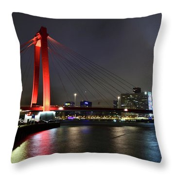 Rotterdam - Willemsbrug At Night Throw Pillow