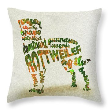 Throw Pillow featuring the painting Rottweiler Dog Watercolor Painting / Typographic Art by Ayse and Deniz