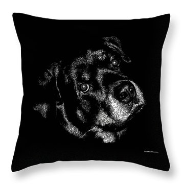 Rottweiler Mozart Portrait Throw Pillow
