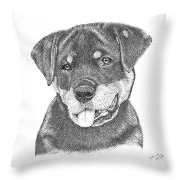 Rottweiler Puppy- Chloe Throw Pillow by Patricia Hiltz
