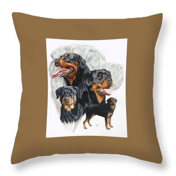Rottweiler W/ghost  Throw Pillow by Barbara Keith