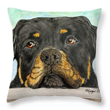 Rottweiler's Sweet Face 2 Throw Pillow by Megan Cohen