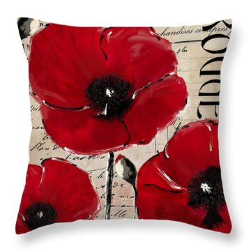 Rouge I Poppy Throw Pillow