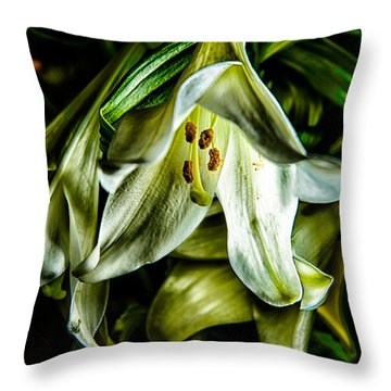 Rough And Droopy White Lily Throw Pillow