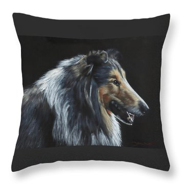 Throw Pillow featuring the painting Rough Collie by John Neeve