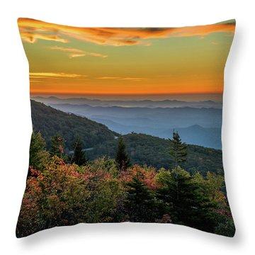 Rough Morning - Blue Ridge Parkway Sunrise Throw Pillow