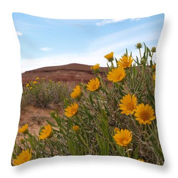 Throw Pillow featuring the photograph Rough Mulesear Flowers by Jenessa Rahn