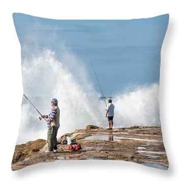 Rough Sea Fishing Throw Pillow