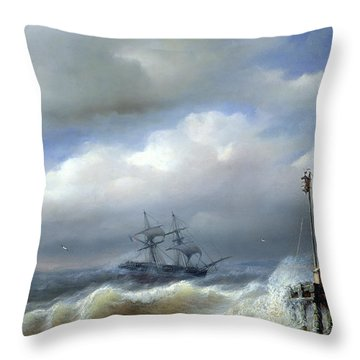 Rough Sea In Stormy Weather Throw Pillow by Paul Jean Clays