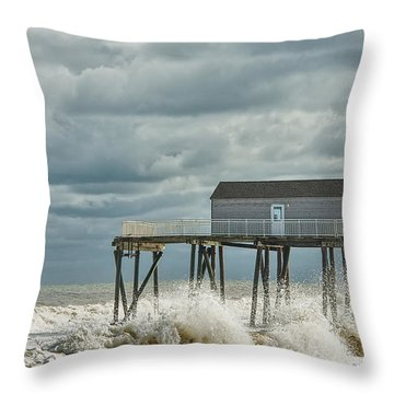 Rough Surf At The Fishing Pier Throw Pillow