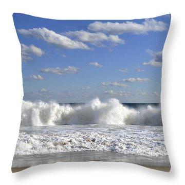 Rough Surf Jersey Shore  Throw Pillow