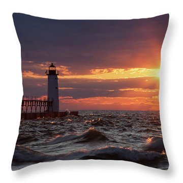 Throw Pillow featuring the photograph Rough Water Sunset by Fran Riley