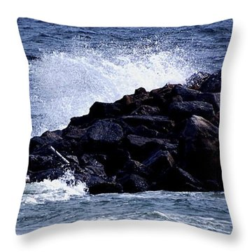 Throw Pillow featuring the photograph Rough Waters by Janice Spivey