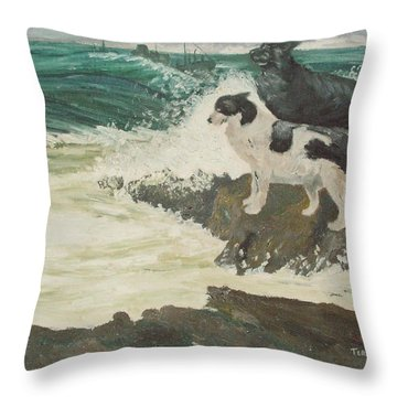 Throw Pillow featuring the painting Roughsea by Terry Frederick