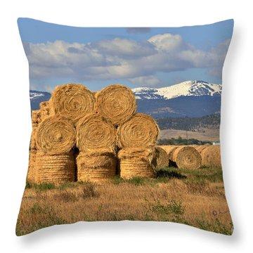 Round Hay Bales And Mountain Throw Pillow