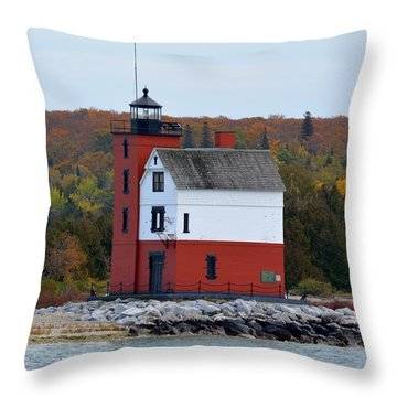 Round Island Lighthouse In October Throw Pillow