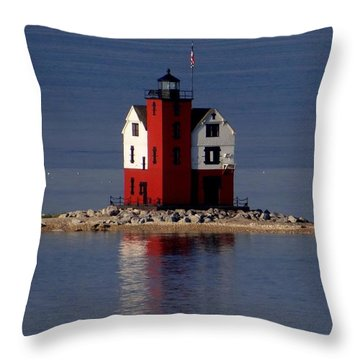 Round Island Lighthouse In The Morning Throw Pillow