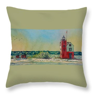 Throw Pillow featuring the painting Round Island Lighthouse by LeAnne Sowa