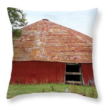 Throw Pillow featuring the photograph Round Red Barn by Sheila Brown