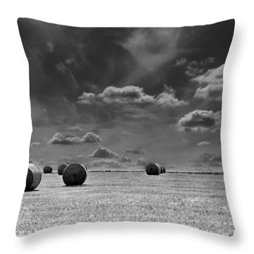 Round Straw Bales Landscape Throw Pillow