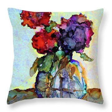 Throw Pillow featuring the painting Round Table With Flowers by Priti Lathia