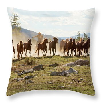 Throw Pillow featuring the photograph Round Up by Sharon Jones