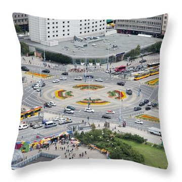 Throw Pillow featuring the photograph Roundabout In Warsaw by Chevy Fleet