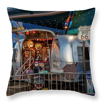 Route 66 And Airstream On Tha Pier Throw Pillow