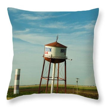 Route 66 And The Leaning Water Tower Of Britten Throw Pillow by MaryJane Armstrong