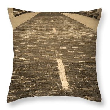 Throw Pillow featuring the photograph Route 66 - Brick Highway 2 Sepia by Frank Romeo