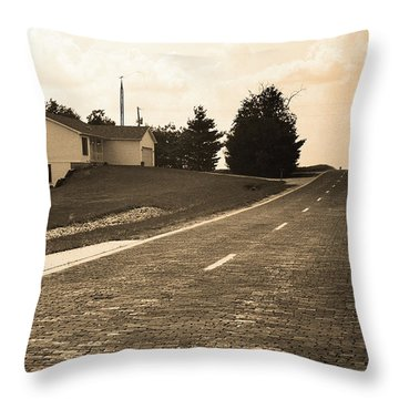 Throw Pillow featuring the photograph Route 66 - Brick Highway Sepia by Frank Romeo