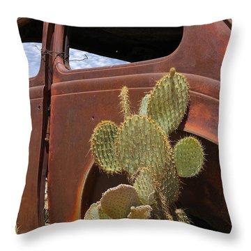 Route 66 Cactus Throw Pillow