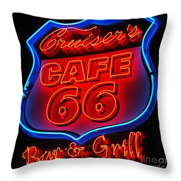 Route 66 Throw Pillow by Donna Greene