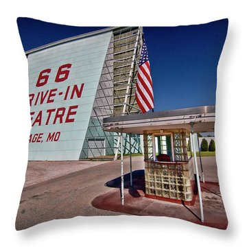 Route 66 Drive In Throw Pillow