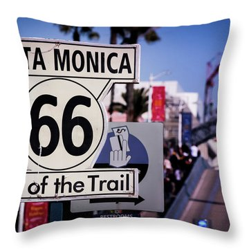 Route 66 End Of Trail Throw Pillow