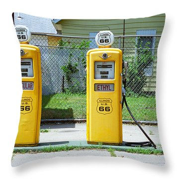 Route 66 - Illinois Gas Pumps Throw Pillow by Frank Romeo
