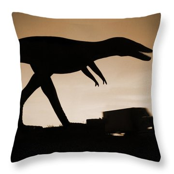 Route 66 - Lost Dinosaur  Throw Pillow