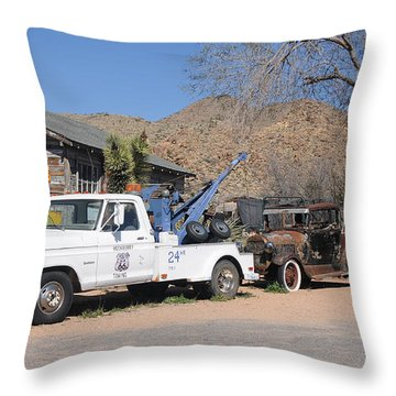 Route 66 Old Shell Service Station Throw Pillow