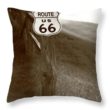 Throw Pillow featuring the photograph Route 66 Shield And Fence Sepia Post by Frank Romeo