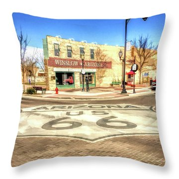 Route 66 Standing On The Corner In Winslow Arizona Street Throw Pillow