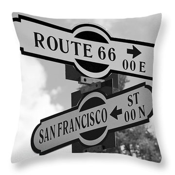 Route 66 Street Sign Black And White Throw Pillow by Phyllis Denton