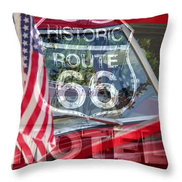 Throw Pillow featuring the photograph Route 66 The American Highway by David Lee Thompson