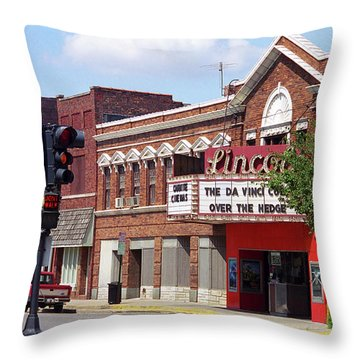 Route 66 Theater Throw Pillow by Frank Romeo