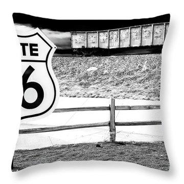 Route 66 Train Throw Pillow