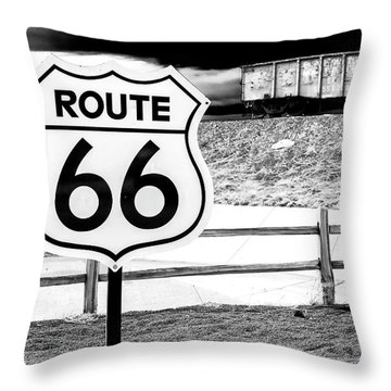 Route 66 Train Throw Pillow