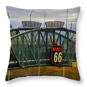 Route 66 Tulsa Sign - Hdr Throw Pillow