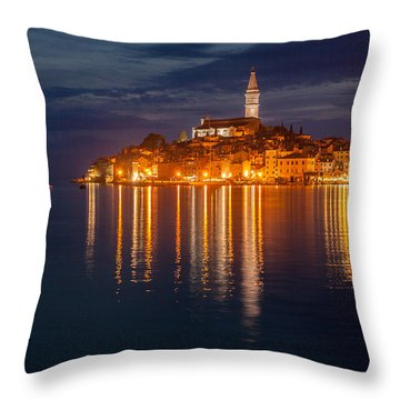 Throw Pillow featuring the photograph Rovinj By Night by Davorin Mance